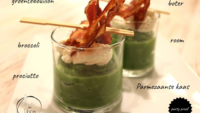 Partyhapje: broccolicappuccino met pancetta