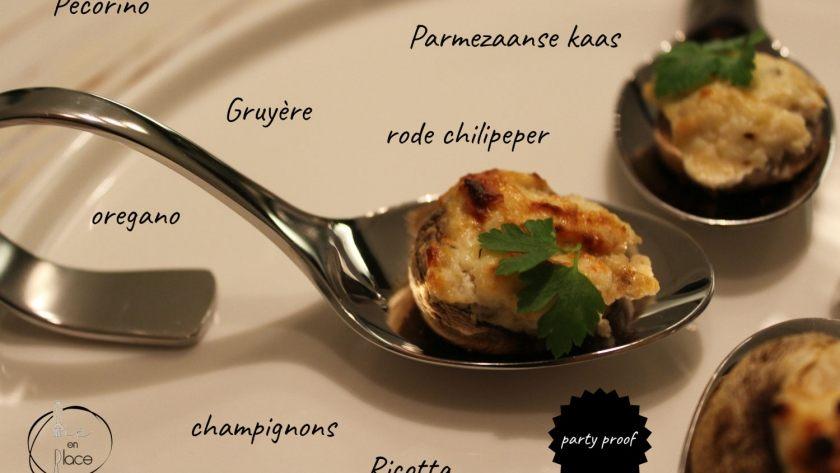 Partyhapje: gevulde champignons met kazen