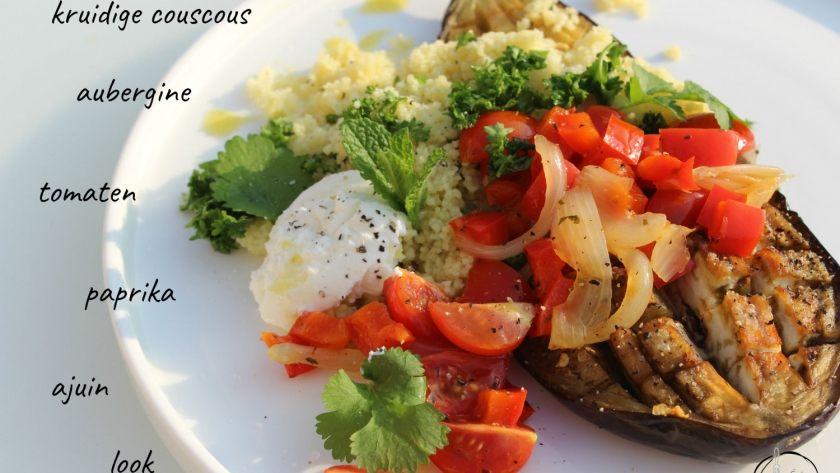 Gevulde aubergine met kruidige couscous