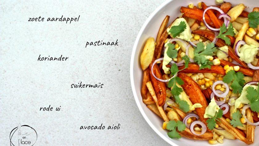 Frietjes van pastinaak en zoete aardappel