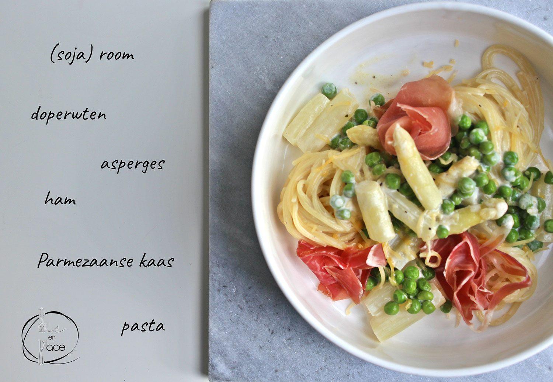 Romige pasta met asperges en erwten