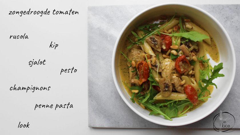 Kip pesto pasta met champignons