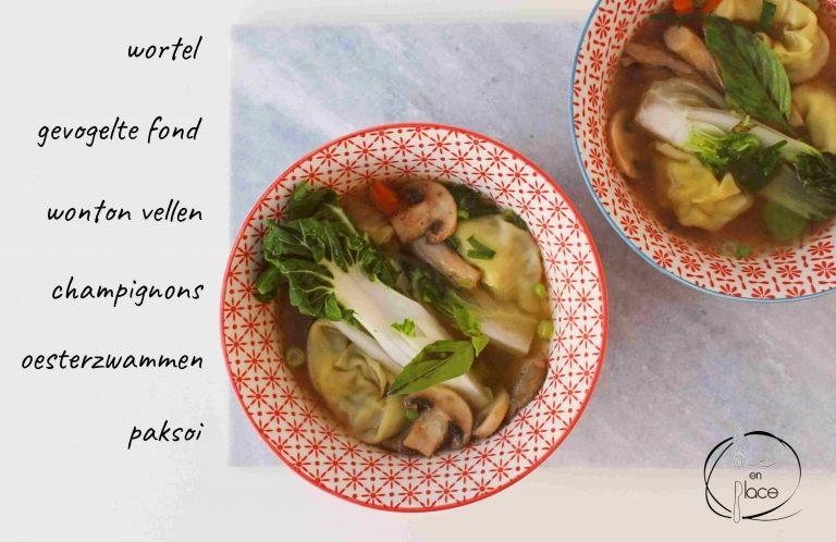Mie en Place wonton soep met paksoi en oesterzwammen