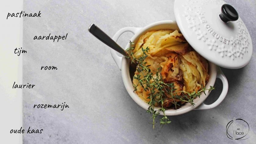 Aardappel pastinaak gratin
